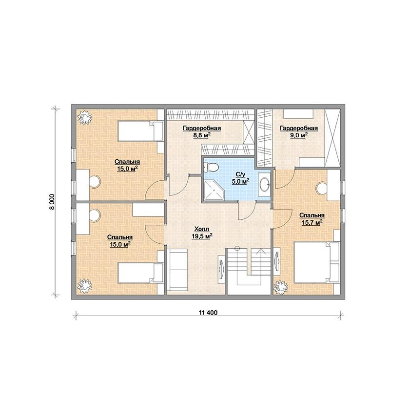 Планировка финского каркасного дома Аврора 188