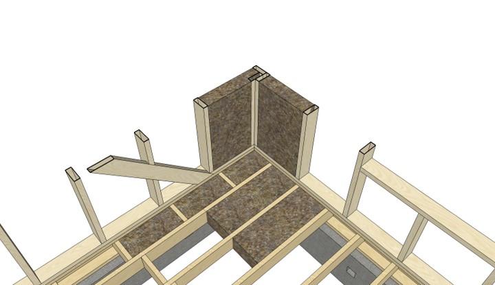 Конструкция теплого угла в каркасном доме в разрезе
