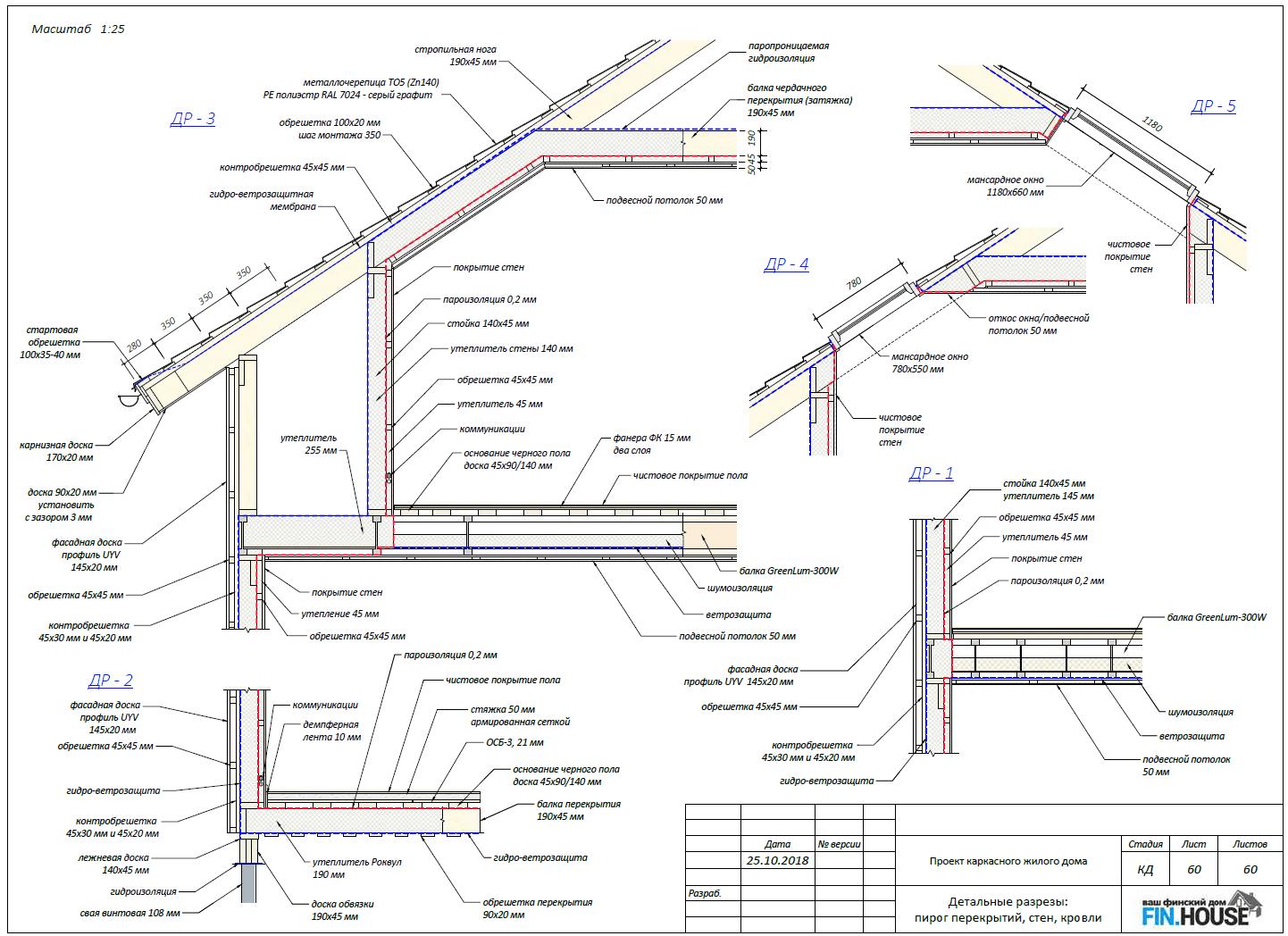 Разрезы по строения с указанием элементов