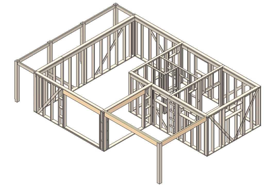 каркасные конструкции стен с применением ЛВЛ ригелей