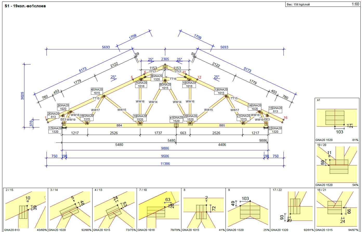 Монтаж стропильной системы фермами заводского производства